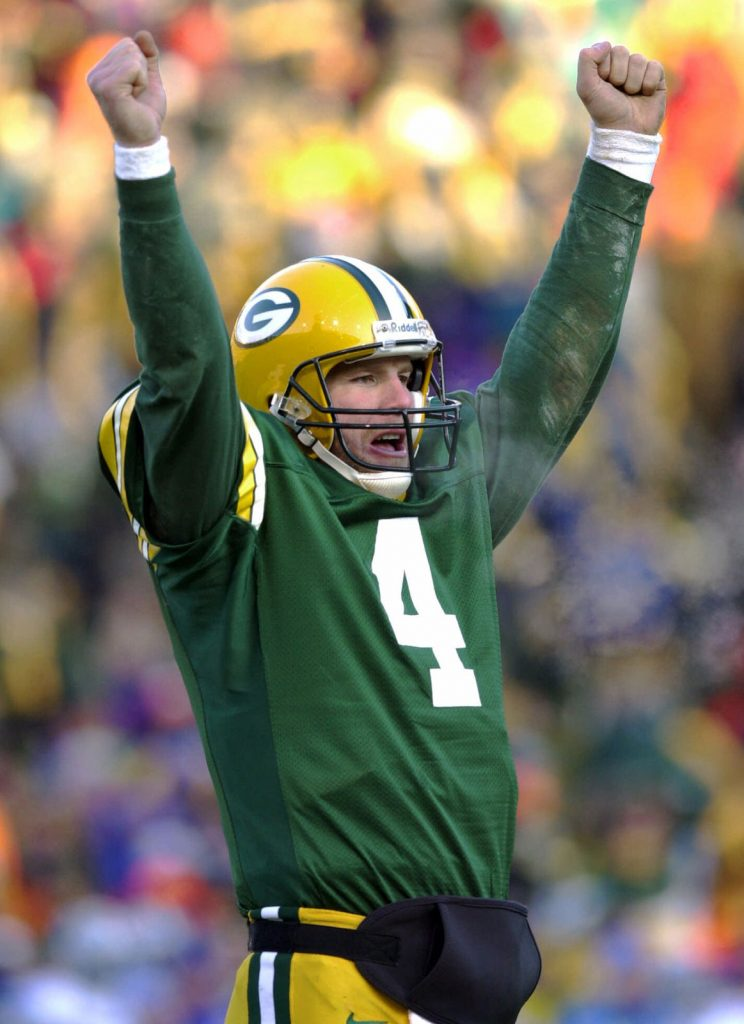 Green Bay Packers Cheesehead fan of Brett Favre